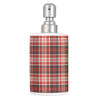 Red and Black Plaid Pattern Soap Dispenser And Toothbrush Holder