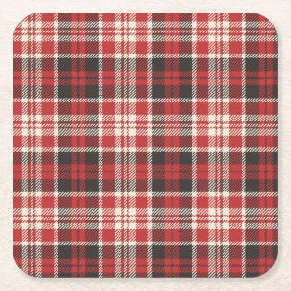 Red and Black Plaid Pattern Square Paper Coaster