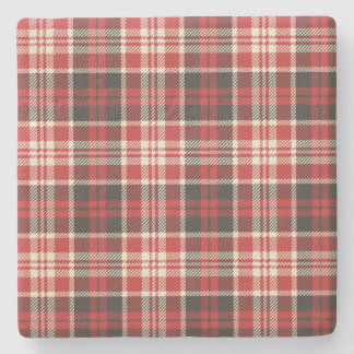 Red and Black Plaid Pattern Stone Coaster