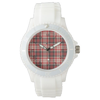 Red and Black Plaid Pattern Watch