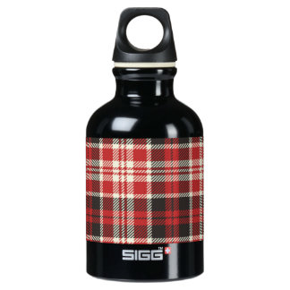 Red and Black Plaid Pattern Water Bottle
