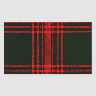 red and black plaid rectangular sticker