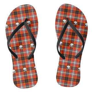 Red and Black Plaid Scull Crossbones Flip Flops