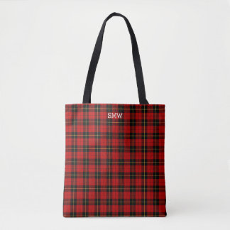 Red and Black Plaid Wallace Tartan Monogram Tote Bag