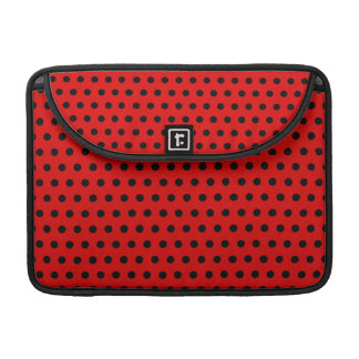 Red and Black Polka Dot Pattern. Spotty. Sleeve For MacBooks