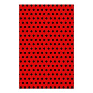 Red and Black Polka Dot Pattern. Spotty. Stationery Design