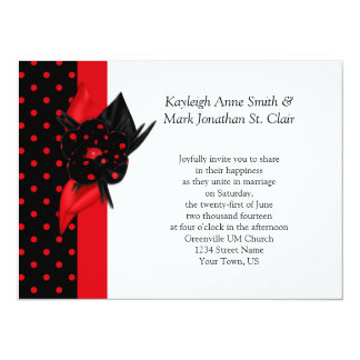 Red and Black Polka Dot Wedding Invitations