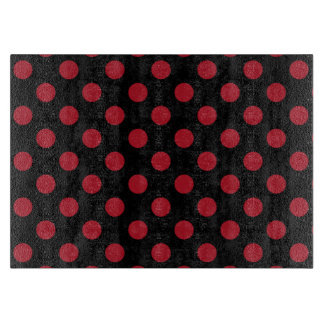 Red and black polka dots cutting board