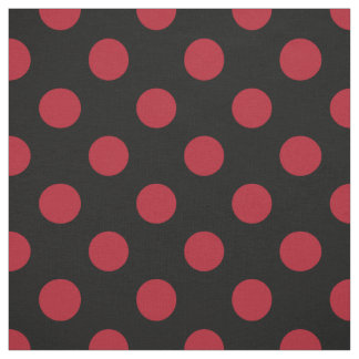 Red and black polka dots fabric