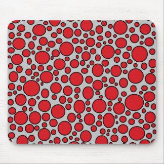 Red and Black Polka Dots Grey Mousepad