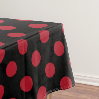 Red and black polka dots tablecloth