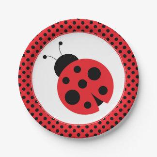 Red and Black Polkadot Ladybug Party Plates