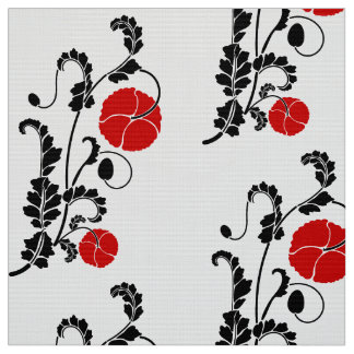 Red and Black Poppy Flower Pattern Fabric