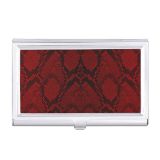 Red and Black Python Snake Skin Reptile Scales Business Card Holders