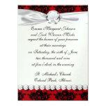 red and black romantic damask 14cm x 19cm invitation card