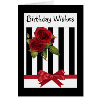 Red And Black Roses Birthday Card