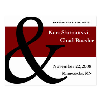 Red and black save the date postcard