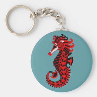 Red and Black Seahorse Key Ring