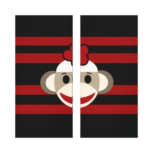 Red and Black Sock Monkey Girl Flower Hat Canvas Prints
