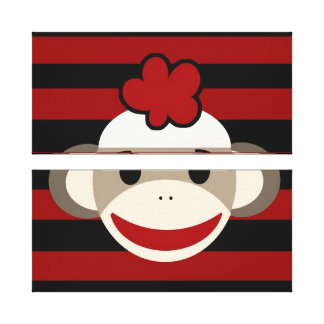 Red and Black Sock Monkey Girl Flower Hat Gallery Wrap Canvas