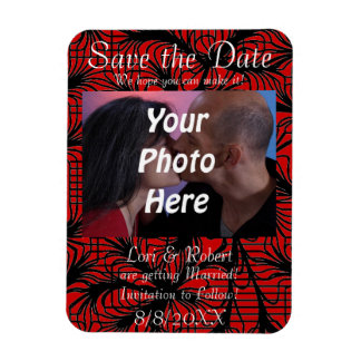Red and Black Spiderweb Theme Photo Save the Date! Rectangular Photo Magnet
