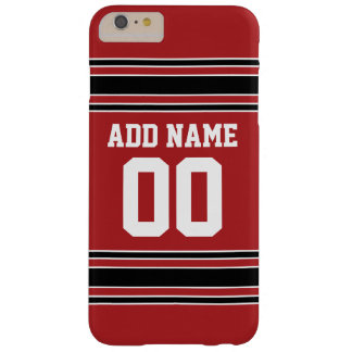 Red and Black Sports Jersey Custom Name Number Barely There iPhone 6 Plus Case