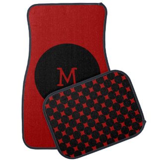 Red And Black Spots Monogrammed Personalized Car Mat