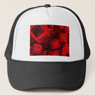 Red and black squares trucker hat