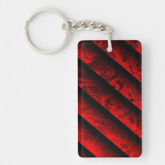 Red and Black Striped Double-Sided Rectangular Acrylic Key Ring