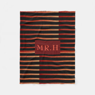 Red and Black Striped Geometric Fleece Blanket
