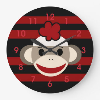 Red and Black Striped Sock Monkey Girl Flower Hat Clock