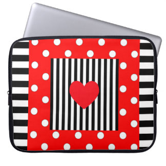 Red and black stripes, polka dots heart pattern laptop sleeve