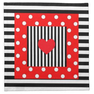 Red and black stripes, polka dots pattern napkin