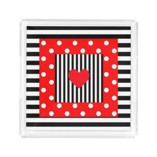 Red and black stripes, polka dots perfume tray