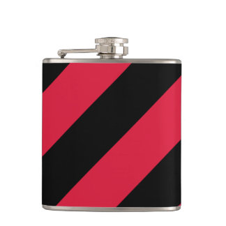 Red and Black Stripes Vinyl Wrapped Flask, 6 oz. Hip Flask