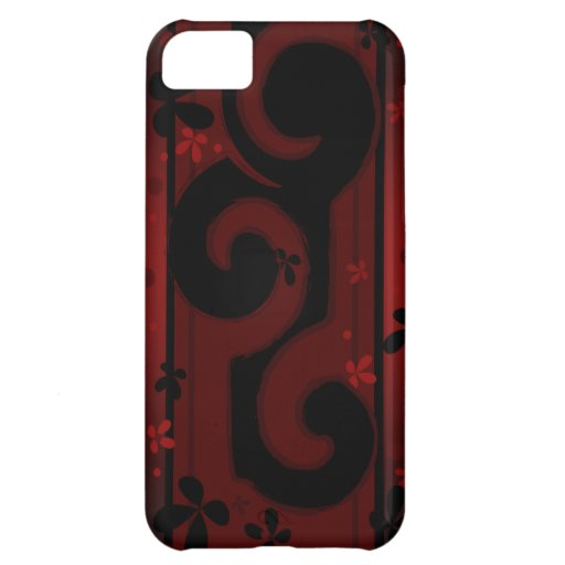 Red and Black Swirl with flowers - iPhone 5 Cases