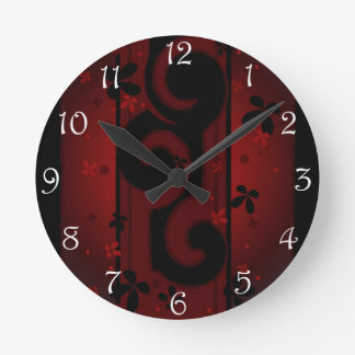 Red and Black Swirl with flowers Round Clock