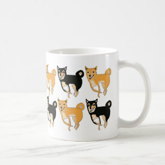 Red and Black & Tan Shiba Inu Pattern Coffee Mug