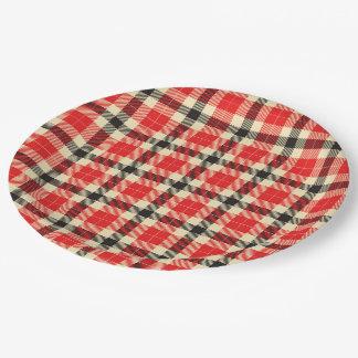 Red and Black Tartan Plaid Paper Plates