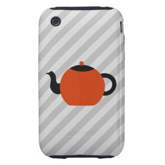 Red and black teapot design, on gray stripes. iPhone 3 tough cases