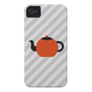 Red and black teapot design, on gray stripes. iPhone 4 Case-Mate cases