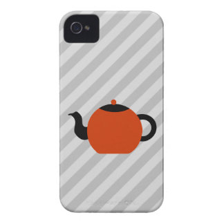 Red and black teapot design, on gray stripes. Case-Mate iPhone 4 case