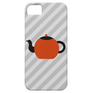 Red and black teapot design, on gray stripes. iPhone 5 cases