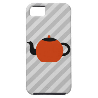 Red and black teapot design, on gray stripes. iPhone 5 case