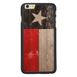 Red and Black Texas Flag Painted Old Wood Carved Maple iPhone 6 Plus Case