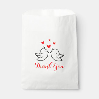 Red And Black Thank You Lovebirds Wedding Party Favour Bag