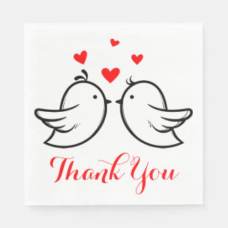Red And Black Thank You Lovebirds Wedding Party Paper Napkins