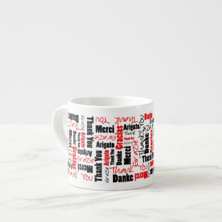 Red and Black Thank You Word Cloud Espresso Cup