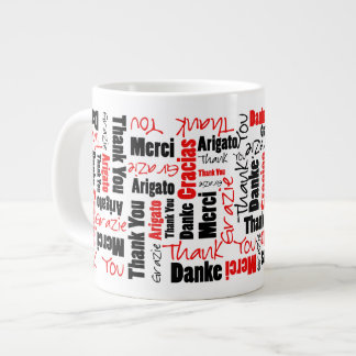 Red and Black Thank You Word Cloud Large Coffee Mug
