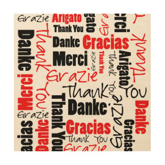 Red and Black Thank You Word Cloud Wood Print